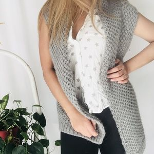 J.jill gray cable knit cardigan cover up RN#97641